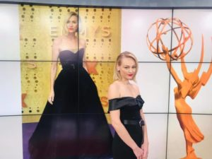 Betsy modeling Naomi Watts modern black dress and classically styled bob