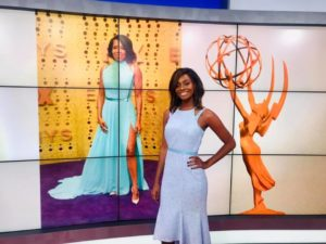 Quin modeling Regina King's powder blue dress and subtle highlighted hair