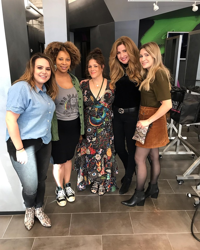 Emily, Jordan, Tracey Cunningham, Veronica, and Jenny at the Redken Exchange